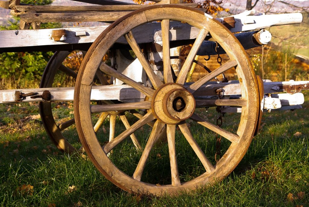 wood farm wheel